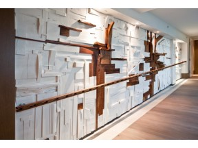Wood collage wall covering and murals