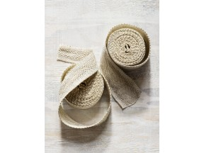 White Fretwork Handwoven Linen Tape