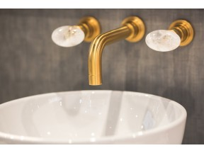 ROHL Lombardia Faucet with Cristallo di Rocca Handles in Satin Gold Finish