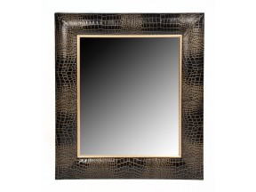 Contemporary Black Croc Leather Framed Mirror
