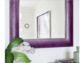 Magenta Python Leather Framed Mirror