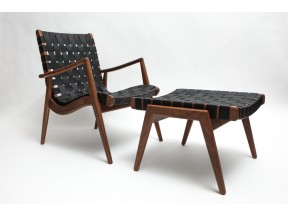 Woven Leather Lounge Chair and  Ottoman