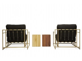 Black Wool and Brass Armchairs