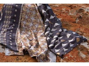 Winds Collection embroidered fabrics - pyrite