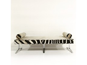 Modern Chrome Bench in Ivory Cowhide & Zebra Hide