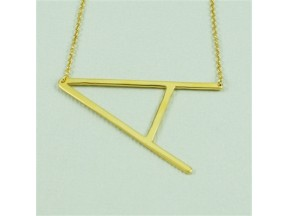 Gold Large Sideways Initial Necklace - A