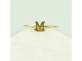 gold tiny initial M ring