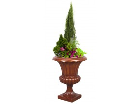 "CORINTHIAN TUSCANY URN PLANTER, WOOD COLOR FINISH, INDOOR OUTDOOR PLANTER URN 23"" HIGH"