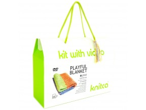 Playful Blanket - learn to knit kit with video course for absolute beginners