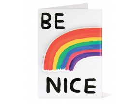 Be Nice puffy gift card by David Shrigley