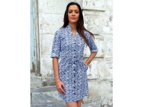 Blue Plume Button Dress