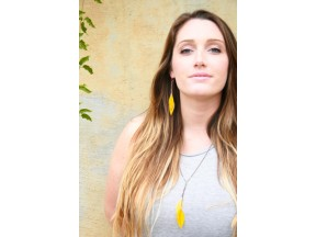Yellow Sunflower Pressed Flower Earrings & Necklace with Copper & Turquoise Glass Beads