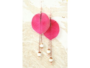 Fuchsia Bougainvillea Pressed Flower Earrings with Rustic Glass Beads
