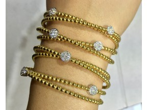 Beaded 18k yellow gold diamomd bangles