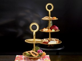 Gilded Beaded 2-Tier Stand & Gilded Beaded 3-Tier Stand