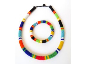 African Zulu beaded necklace and round bracelet set