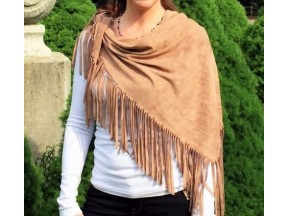 Suede-like Poncho with Fringe
