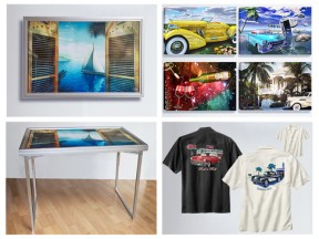 Table - Art / Canvas and Aluminum Art / Silk Retro Shirts with high endmbroidered Classic Car Art