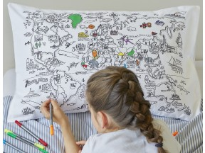 color & learn world map pillowcase