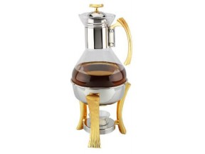 Gold Two Tone Tea / Coffee Warmer Set of  Detachable Glass Pitcher and 18/10 Stainless Steel