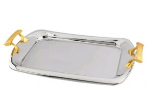 Gold Two Tone Ripple Design Serving Tray 18/10 Stainless Steel