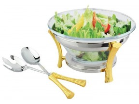 Gold Two Tone Salad/ Multi-Purpose Bowl Set with Servers 18/10 Stainless Steel