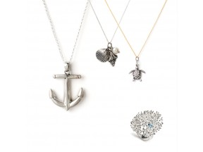 Heavy Metal Anchor Necklace, Ariel Charm Necklace, Sanibel Necklace, Coral Reef Ring