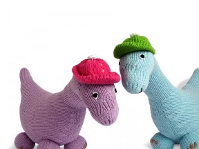 Hand knit dinosaurs