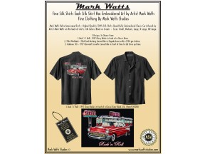 Mark Watts Retro Silk Embroidered Classic Car Artwork Shirts
