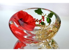 Holiday Glass Flower Bowl