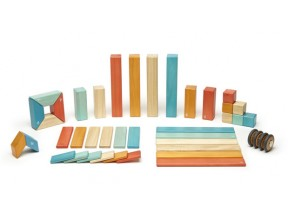 42 Piece Magnetic Wooden Block Set in Sunset