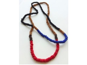 Color Block Leather Chord Necklace