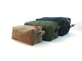 Military Blanket & Waxed Sailcloth Dopp Kits / Toiletry Bags