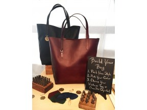Oil-Tanned Leather Totes with Vintage Brass Tag or Quartz Crystal
