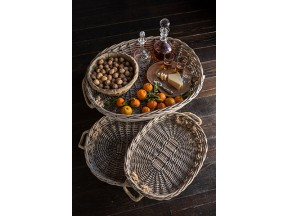 Set of Three Oval Willow Trays with Jute Handles