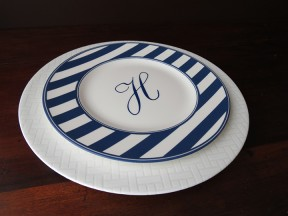 Monogram - Beach Stripe & Wicker White