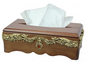 SOLID WOOD TISSUE BOX HOLDER WITH GOLD ACCENT