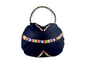 denim beaded weekend bag