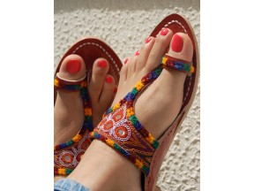 T Strap Embroidery Sandals