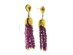 Pink Tourmaline Fringe Earrings