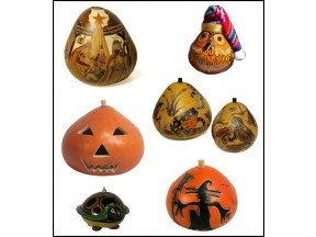 Carved and Etched Gourds