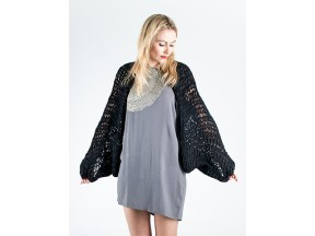 Hand-knit black cardigan from up-cycled fabric scraps