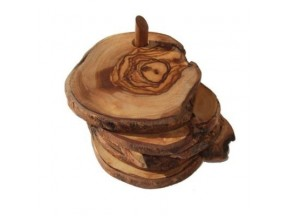 Olive wood coster and canisters