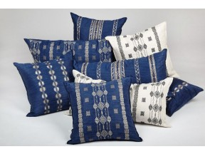 Indigo Twill and Ivory Twill Embroidered Linen Pillows