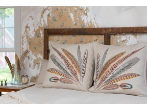 Pheasant Feather Embroidered Linen Pillow