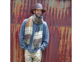 Shapeable Felt Bowler and Plaid Scarf