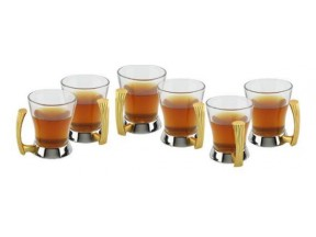 Gold Two Tone Tea / Coffee Cups Set of 6 pc Detachable Glass in 18/10 Stainless Steel