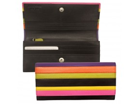 Leather Multi Color Striped Wallet
