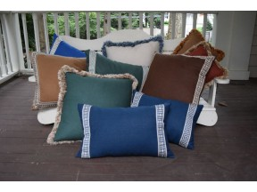 Embellished Pillows with Variegated Fringes and Woven Tapes