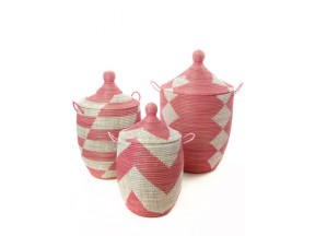 Set of Three Pink Wolof Hamper Baskets from Senegal